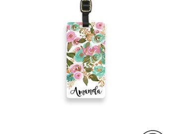 Luggage Tag Floral Personalized Name Luggage Tag  With Printed Custom Info On Back , Single Tag Mint Green and Pink Floral Peonies