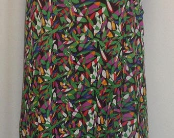 Plus Size Tank Top, Plus Size Tunic, Coco and Juan, Lagenlook, Green Pink  Print, Angled, Tank Top Size 1 Fits 1X,2X Bust  to 50 inches
