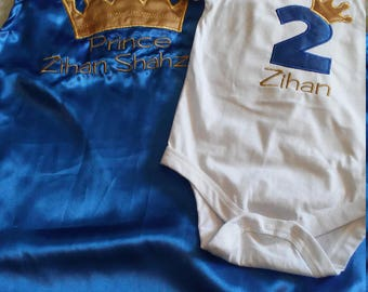 2 piece Baby boy Toddler birthday set outfit 2nd Birthday photo prop PRINCE OR KING royal blue gold crown onesie cape