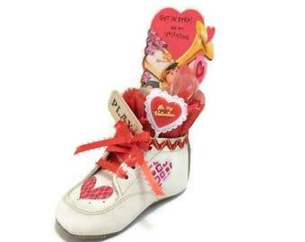 Valentine Baby Shoe Assemblage   Get In Step Vintage Valentine Card in Baby Shoe