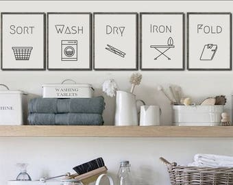 Sort, Wash, Dry, Iron, Fold Laundry Symbol PRINTABLES - Set of 5 prints, Cleaning Wall Art, Poster, Chores, Home Decor, Minimalist, Affiche