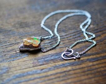 Raw Rainbow Fire Opal Necklace Freeform