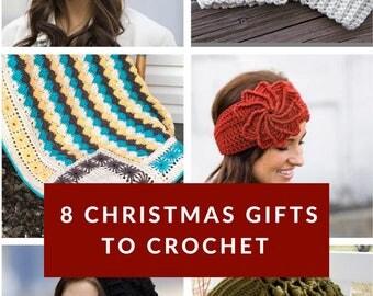 8 Crochet Patterns, PDF digital downloads, handmade Christmas gifts,  pattern bundle, womens winter hat, crochet boot cuffs, baby blanket