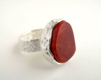 Red Coral Ring Sterling Silver Ring With Root Of Coral Sponge Coral Jewelry Coral Ring