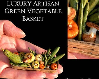 Luxury Artisan Green Vegetable Basket - Artisan fully Handmade Miniature in 12th scale. From After Dark miniatures.