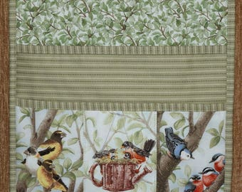 Quilted Armchair Caddy, Bedside Caddy, Birds, Evening Grosbeak, American Robin, Red-breasted Nuthatch
