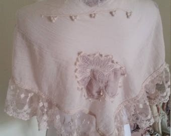 shabby pink shawl, pale pink scarf, applique wrap, DELICATE shabby flowers, exquisite lace