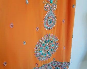 holiday resort wear, orange indian skirt, bejewelled clothing, FABULOUS coloured rhinestones, small size