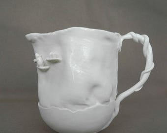 Jug with white mice in white porcelain - handmade ceramic whimsical pitcher