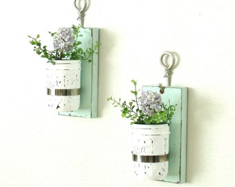 New Set of 2 Hanging Mason Jar Sconce.. Wood Wall Decor... Chic Modern Farmhouse Decor..Mason Jar Wall Decor.Painted Wall Sconces