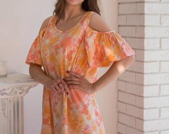 Peach Ombre Cold shoulder Shift Dress| Summer Dress| Workwear| Sundress| Tunic Dress| Boho Dress| Short Dress| Street Style