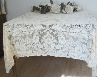 "Antique 1940s Quaker Lace Tablecloth Rectangular Ecru 64"" x 76"" Mint Cond No. 4200 Popular in the White House"