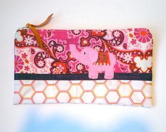 "Zipper Pouch, 5.25x9.25"" in pink, orange, cream, plum and fuchsia paisley print fabric with Handmade Felt Elephant Embellishment"