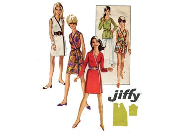 1960s Easy Wrap Dress Pattern Cover Up Tunic Sleeveless Long Sleeve Front Wrap Jiffy Simplicity 7760 Bust 34 36 Vintage Sewing Pattern