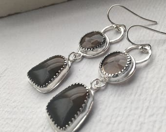 Smoky Quartz and Agate Stone Dangle Earrings - Gray and Brown Stone Earrings - Smoky Quartz Jewelry - Sterling Silver and Stone Earrings