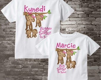 Girl's Set of Two, Bigger Sister of Twins and Big Sister of Twins Tee shirts or Onesies, Pregnancy Announcemnt, Baby Shower Gift 04022014b