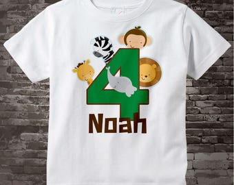 Boy's Four Year Old Jungle Birthday Shirt with Name, Fourth Birthday Shirt, Personalized Jungle Birthday Theme 05212014d