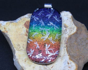 Dichroic Glass Pendant - Dichroic Fused Glass Pendant - Dichroic Fused Glass Jewelry - Fused Glass UK - Dragonfly Pendant - Rainbow - Gay