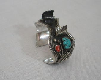 Vintage Turquoise & Coral Cuff Watch Band