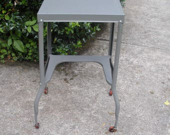 Vintage Gray Metal Typewriter Table With Red Wood Wheels