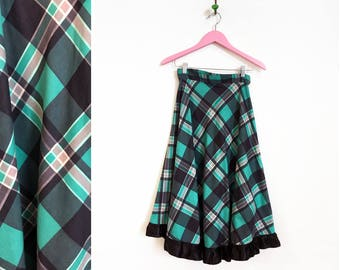 Vintage 1960s Teal Plaid A Line Midi Skirt Size S