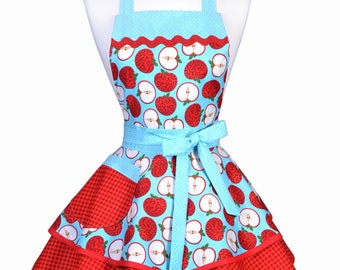 Womens Ruffled Retro Apron - Red and Aqua Farmers Market Apples Womans Cute Flirty Vintage Pinup Apron to Personalize or Monogram (DP)