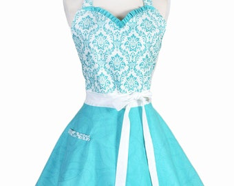 Sweetheart Pinup Apron - Womens 50s Style Flirty Aqua and White Damask and Swirls Retro Vintage Inspired Kitchen Apron with Pocket (DP)