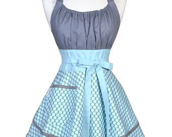 Womens Flirty Chic Apron / Amy Butler Lotus Bloom Gray with Blue Polka Dots Ruffled Vintage Style Pin Up Kitchen Apron with Pocket (FM)