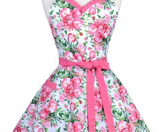 Sweetheart Womens Retro Apron in Bright Pink Spring Floral Flirty Kitchen Apron with Pocket and Personalized Monogram Option