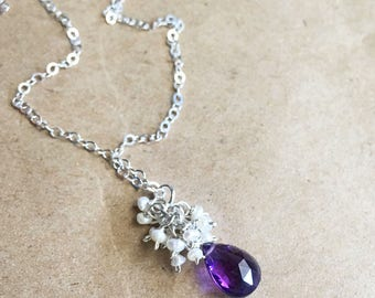 February Birthstone Amethyst Pearl Necklace, Amethyst Gemstone Pearl Cluster Pendant Necklace in Sterling Silver