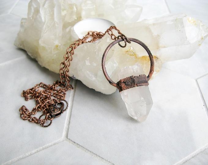Brazilian Quartz Pendant Electroformed Copper Necklace Boho necklace Modern Jewelry Large Quartz Pendant Statement necklace OOAK