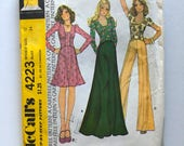Vintage Sewing Pattern, Women's 1970s Mostly Uncut, McCall's 4223 Top, Maxi Skirt, Flared Pants (S)