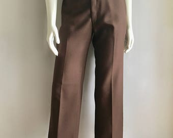 Vintage Women's 70's Brown, Polyester Pants, High Waisted, Wide Leg (M)