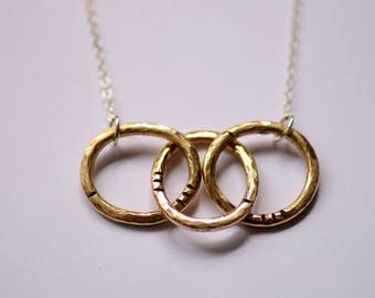 Brass Links Necklace - Brass and Silver - Everyday Necklace - Hammered Brass - Mixed Metals - Handmade Jewelry - Gold and Silver - Gold