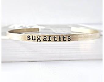 Funny statement jewelry, Sugartits, Tits, Naughty Valentine Gift for Wife, Girlfriend, Sexy Valentine Gift, skinny cuff, sarcastic jewelry