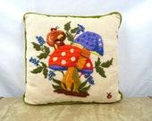 Vintage Mushroom Shroom 1970s 70s Mini Embroidered Pillow