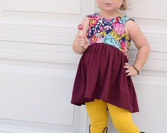 Dress, Tunic or Cropped top- Fall Floral- Toddler/Girls, crop top or dress