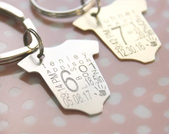 Personalized Gift, Baby Announcement Baby Statistics Stats Keychain New Baby for Dad Gift for Mom Baby Weight Time Date Keepsake Memento