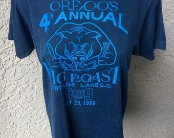 1986 vintage Grego's Pig Roast shirt - super soft blue size medium