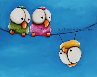 Whimsical birds - Upside Down