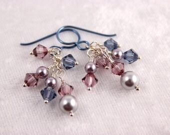 Pink and Demin Cluster Earrings, Swarovski, Hypoallergenic