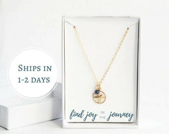 Personalized Graduation Gift for Her - Gold Compass Necklace - Find Joy in the Journey - Motivational Necklace - Gold Christian Necklace
