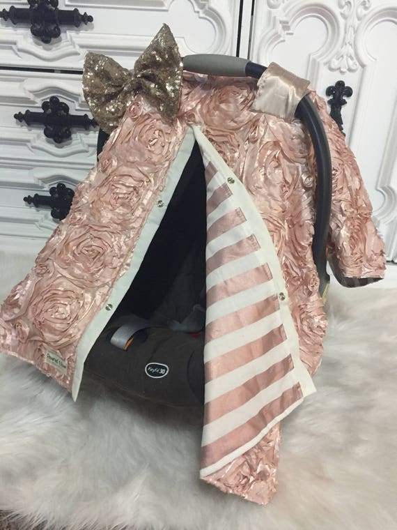 Rose Gold Rosette  sparkle car seat canopy , Gold and Light Pink , Comes with JUMBO bow