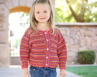 Pink, Red, and Purple Girls Sweater Cardigan -- Childrens Clothing --  CUMBERLAND STREET -- Hand Knit -- Perfect for Baby Showers