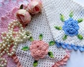 Pot Holders and Doilies, Shabby Pink  Crochet, Crochet Wall Hangings, Trivet, Shabby French, Tea Party, by mailordervintage on etsy