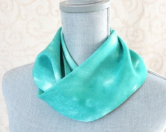 Skinny Jacquard Silk Scarf Hand Dyed in Mint Green