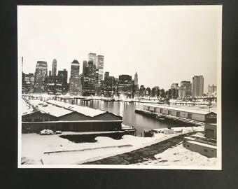 Ilford Fiber 8x10 print of Manhattan at night with Twin Towers