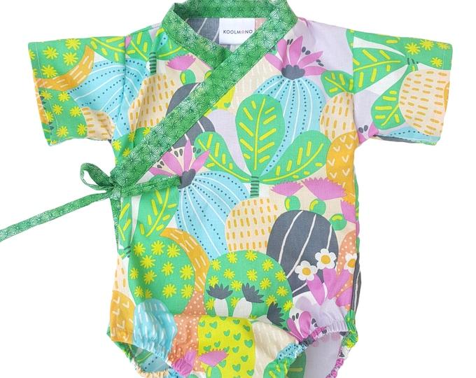 Baby Kimono Bodysuit - CACTUS BLOOM - Japanese kimono onesie for baby and toddler