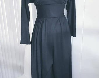 Sassy Vintage Black Jumpsuit -- Palazzo Pants from the 1970's -- Disco -- Size S