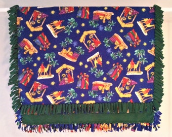 Fleece Blanket - Hand-Tied Fringe Throw - Holiday Theme - Christmas Nativity